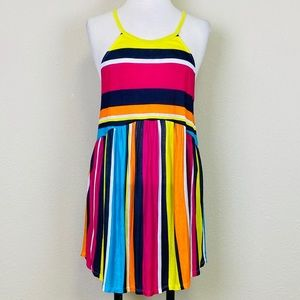 MY STORY Vibrant Multi-Color Stripe Tank Dress NWT
